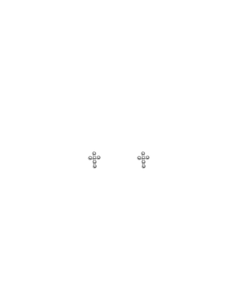 Pendientes Plata cruz bolitas