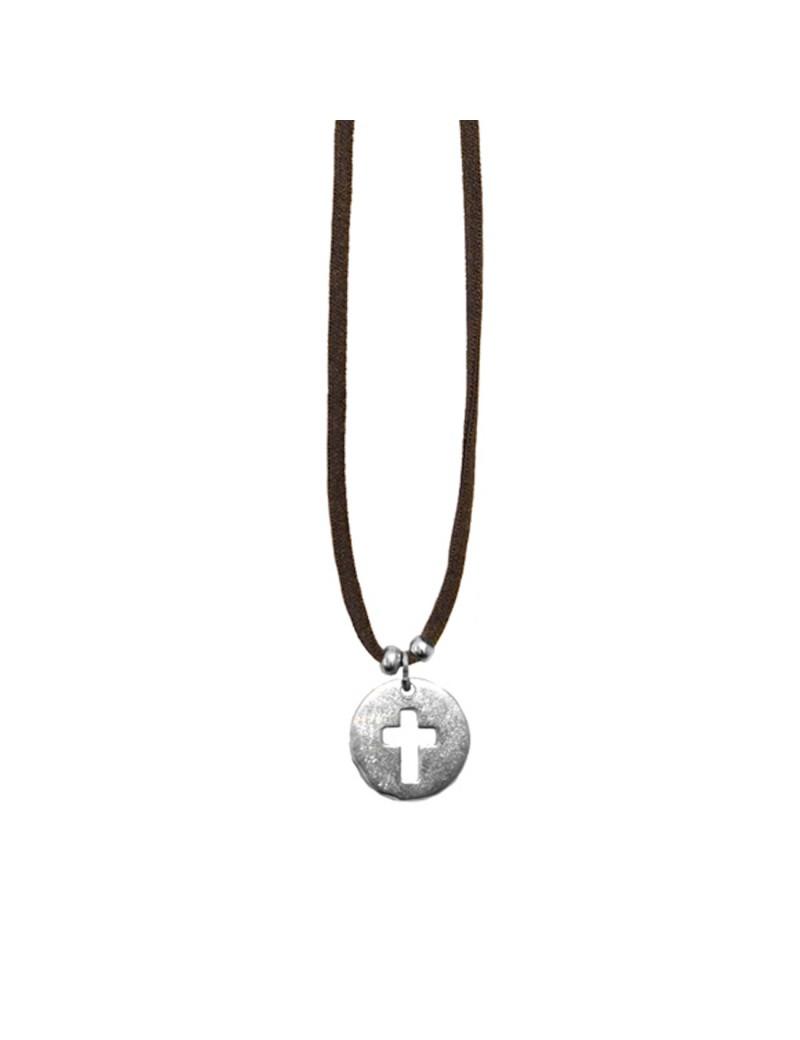 Colgante medalla cruz cordón elástico
