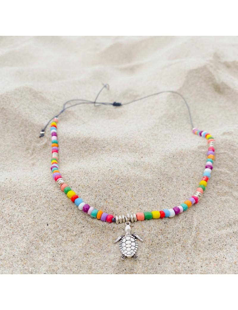 Collar tortuga con cristales multicolor