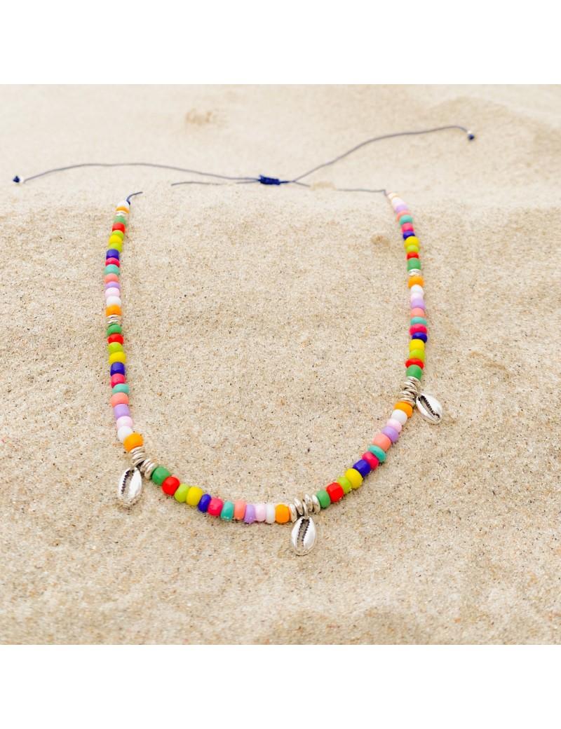 Collar 3 conchas con cristales multicolor
