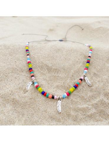 Collar 3 plumas con cristales multicolor
